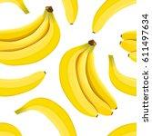 banana seamless pattern vector. ... | Shutterstock .eps vector #611497634