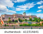 Small photo of Buda Castle Royal Palace on Hill Hungary Budapest Europe panorama architecture famous landmark historical part city with blue sky.