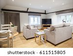 modern spacious lounge or... | Shutterstock . vector #611515805