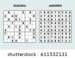 vector sudoku with answer 55.... | Shutterstock .eps vector #611532131