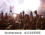 crowd at concert   summer music ... | Shutterstock . vector #611535305