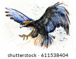 eagle watercolor birds animals... | Shutterstock . vector #611538404