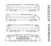 trains line drawing on white... | Shutterstock .eps vector #611555261
