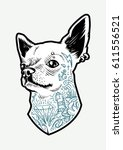tattooed chihuahua dog. vector... | Shutterstock .eps vector #611556521