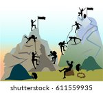 mountain landscape with... | Shutterstock .eps vector #611559935