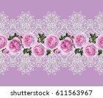 seamless pattern border.... | Shutterstock . vector #611563967