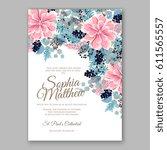 peony wedding invitation... | Shutterstock .eps vector #611565557