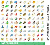 100 coins icons set in... | Shutterstock .eps vector #611570069