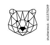 polygonal head of bear isolated ... | Shutterstock .eps vector #611570249