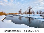 winter river landscape | Shutterstock . vector #611570471