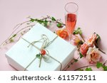 wine glass with decorated gift | Shutterstock . vector #611572511