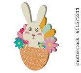 easter rabbit icon. isometric