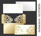laser cutting template of cover.... | Shutterstock .eps vector #611576054