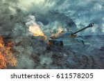 two tanks on the battlefield.... | Shutterstock . vector #611578205