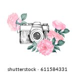 vintage retro photo camera in... | Shutterstock .eps vector #611584331