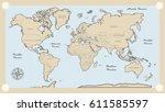 illustration   map of the world ... | Shutterstock .eps vector #611585597