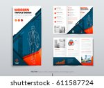 tri fold brochure design. dl... | Shutterstock .eps vector #611587724