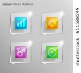 glass square button for use in... | Shutterstock .eps vector #611588249