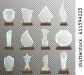 set of glass transparent trophy ... | Shutterstock .eps vector #611594225