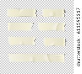 Adhesive or masking tape set  isolated on transparent background. Vector realistic different adhesive tape pieces.