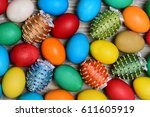 set of colorful eggs on grey... | Shutterstock . vector #611605919