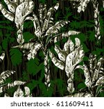 pattern with tropical jungle...   Shutterstock .eps vector #611609411