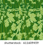pattern with tropical jungle... | Shutterstock .eps vector #611609459