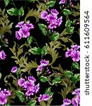 classic rococo flower patter... | Shutterstock .eps vector #611609564