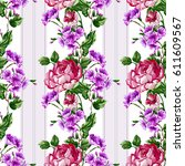 floral baroque pattern with... | Shutterstock .eps vector #611609567