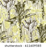 pattern with tropical jungle... | Shutterstock .eps vector #611609585