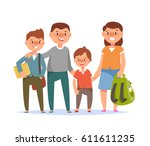 vector illustration of happy... | Shutterstock .eps vector #611611235