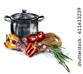 illustration kitchen....   Shutterstock . vector #611613239