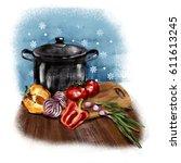 illustration kitchen....   Shutterstock . vector #611613245