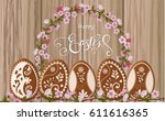 happy easter lettering ... | Shutterstock .eps vector #611616365