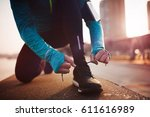 jogging and running are healthy ... | Shutterstock . vector #611616989