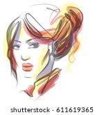 stylish  original hand drawn... | Shutterstock .eps vector #611619365