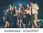 multi ethnic group of friends... | Shutterstock . vector #611624507