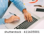 businesswoman hands typing on... | Shutterstock . vector #611635001