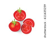 set of tomato icon and food... | Shutterstock .eps vector #611635259