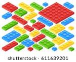 isometric plastic building... | Shutterstock .eps vector #611639201