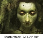 digital illustration of face of ...   Shutterstock . vector #611644409