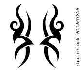 tattoo sketch tribal vector... | Shutterstock .eps vector #611649359