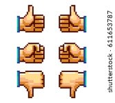 a set of 8 bit pixel art hand... | Shutterstock .eps vector #611653787