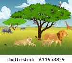 vector african savannah with... | Shutterstock .eps vector #611653829