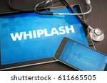 Small photo of Whiplash (neurological disorder) diagnosis medical concept on tablet screen with stethoscope.