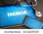 Small photo of Tremor (neurological disorder) diagnosis medical concept on tablet screen with stethoscope.