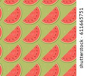 seamless pattern fruit water... | Shutterstock .eps vector #611665751