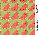seamless pattern fruit water... | Shutterstock .eps vector #611665751