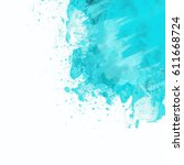 watercolor blue background.... | Shutterstock . vector #611668724
