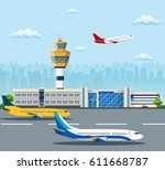 airport building and airplanes... | Shutterstock .eps vector #611668787